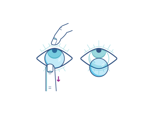 = Remove your contact lenses by using your index finger to lower edge of the lens