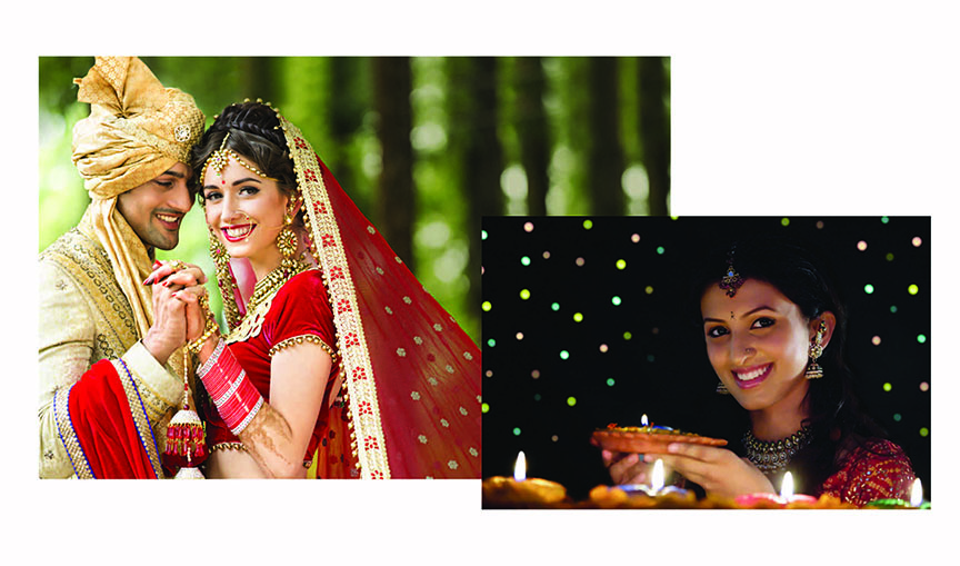 A woman looking holding a lamp, smiling as she looks at the camera and an Indian bride holding hands of the groom standing in front of her, as she looks at the camera smiling