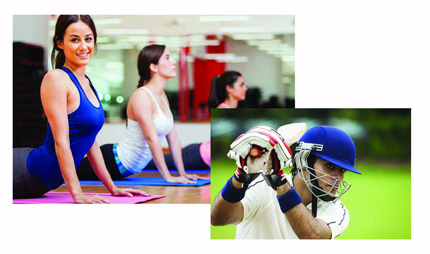 a cricket player in helmet, holding a bat, about to take a shot and a girl in black gym-wear, leaning forward, working out on her arms