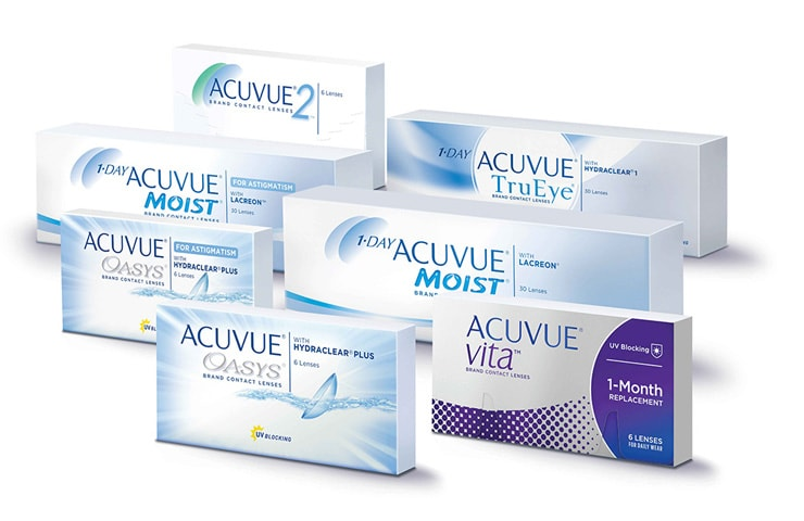 Packshot of all Acuvue Products