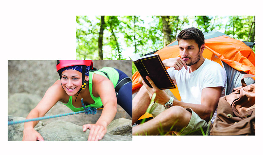 A woman in green t-shirt and red helmet, climbing up a rock and a young man sitting in front of an orange tent, reading a book